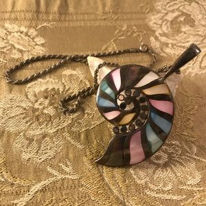 Silver Shell Spiral Necklace